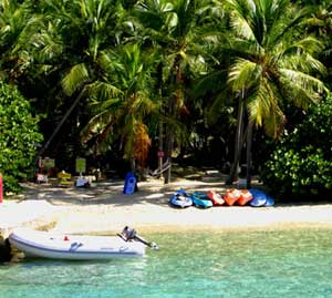 Watersports equipment is rented right off the beach.