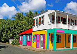 The colorful architecture of Tortola