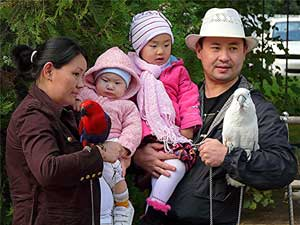 Kazakh family with friends
