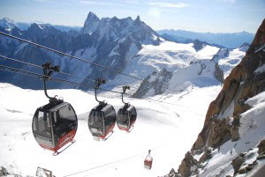 Climbing to the top of Mt Blanc in the Plan de Aiguille cable car