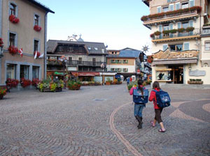 Walking the cobblestone streets of Megeve, France