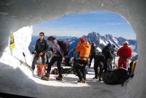 Inside the chamber where the hikers set out to climb down steep Mt. Blanc.