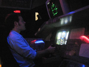 A flight simulator at the McAuliffe-Shepard Discovery Center in Concord, New Hampshire