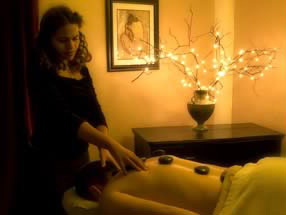 Getting a massage at the Serendipity Day Spa