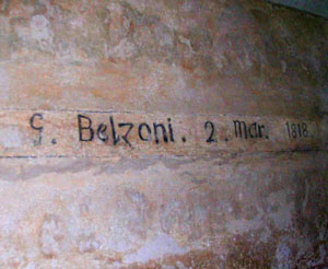 The signature of Giovanni Belzoni, who discovered the tomb