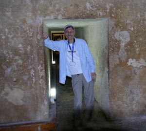 The author at the entrance to Khafre's burial chamber