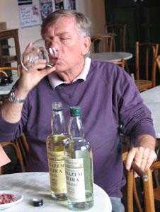 Sampling wine at the Villa Francioni