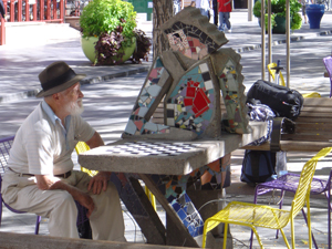 Playing chess in 'LoDo,' downtown Denver, Colorado. Photos by Chance St. John.