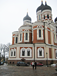 Alexander Nevsky Cathedral, with its onion domes, is a reminder of a once-occupied Tallin
