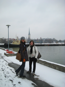 Arriving at Tallinn Harbor, with St. Olaf's church in the background. Photos by Isadora Dunne