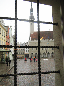 A view of the Town Hall square from inside the old pharmacy