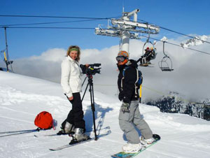 Skiing and videotaping on Mont Blanc in Chamonix