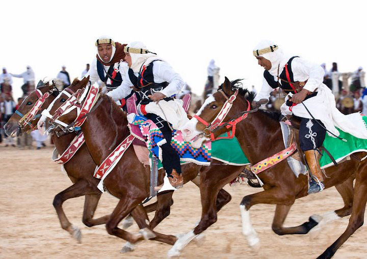 A horse race at the Douz Festival in Tunisia