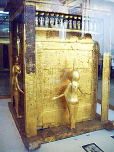 One of four golden shrines that contained Tutankhamun's sarcophagus. At the Egyptian Museum. Photos by Mary O'Brien