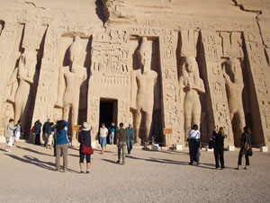 The Temple of Hathor, built to honor the pharaoh's favorite wife, is one of two temples at Abu Simbel that were moved to higher ground when newly formed Lake Nasser threatened to engulf them.