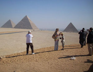Every visitor to Egypt takes a picture of the pyramids at Giza.