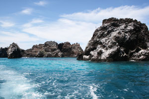 Crystal blue waters in the Galapagos.