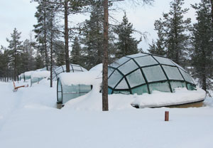 Glass igloos at Kakslauttanen Igloo Village