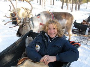 Riding in a reindeer sledge