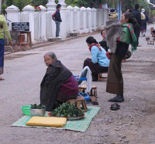 Morning almsgivers in Luang Prabang, Laos