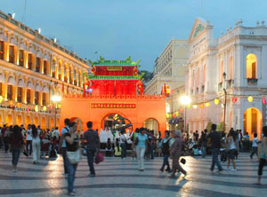 Old and new in downtown Macau