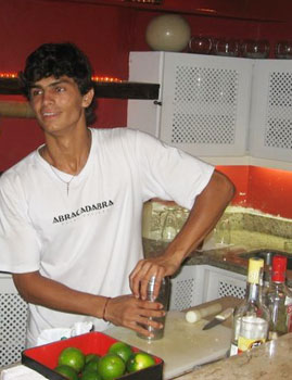 Jacob at Abracadabra making the best caipirinhas in Buzios.
