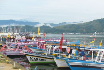 Gaily painted tour boats docked at Paraty Wharf with the early morning mist rising in the background hills
