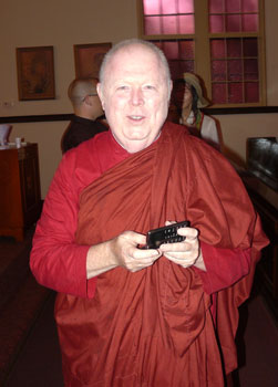 Bhante Kassapa keeps up with his fellow monks on Facebook