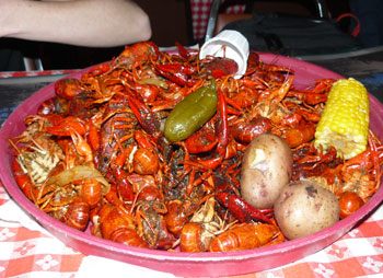 A platter of crawfish at Larry's French Market and Cajun Cafeteria in Groves, Texas.