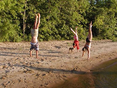 Handstands on the beach, of course!