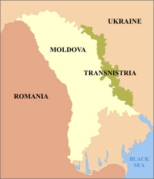 Transnistria has its own army and its own currency, but it is not recognized by most mapmakers.