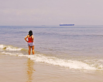 Testing the waters of the pristine sandy shore at Ocean City