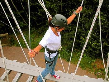Maggie on the suspension bridge