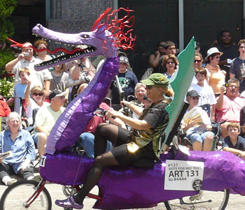 A bicyclist in Houston's Art Car Parade - photos by Stephen Hartshorne