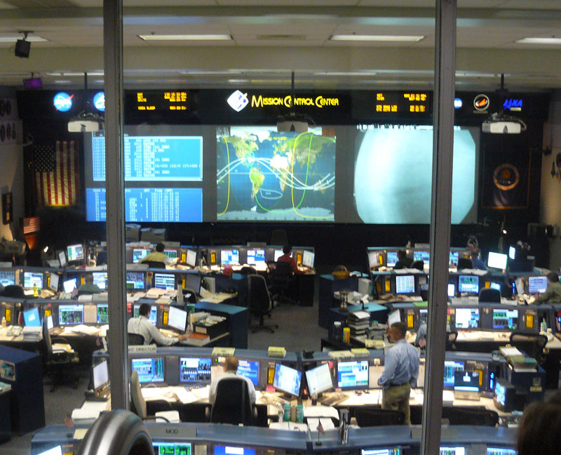Mission Control in Houston.  Photo by Stephen Hartshorne. Click on photo to return to Stephen Hartshornes story about Houston.