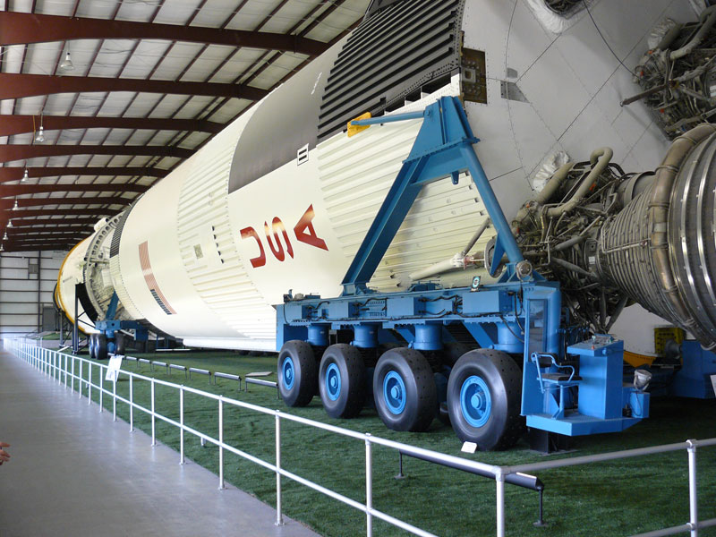 A Saturn V rocket at the Johnson Space Center in Houston. Photo by Stephen Hartshorne. Click on photo to return to Stephen Hartshorne's story about Houston.