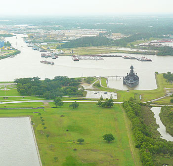 The Battleship Texas saw service in World War I and World War II and participated in the bombardment of the Normandy beaches during the D-Day Invasion.