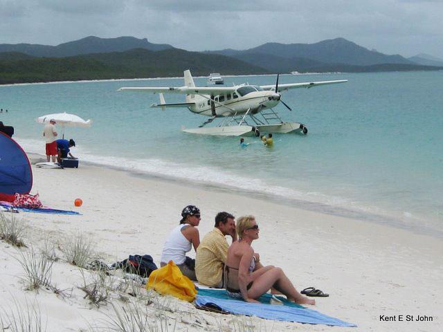 Taking a seaplane to Whitehaven Beach in Australia - photo by Kent St. John