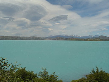 The torquoise waters of Lago Pehoé contrasts the often dramatic Patagonian skies.