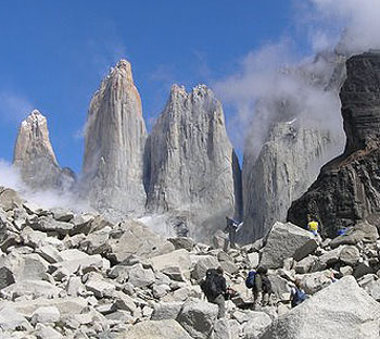 Nearly there: hikers stop to appreciate their first close up views of the Torres del Paine.