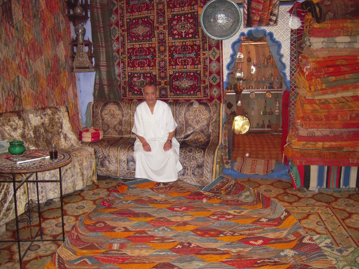 A carpet shop in Chefhcaouen, Morocco. Photo by Ann Banks.