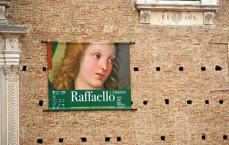 The ducal palace in Urbino displays a detail by Raphael, a native son of the city.