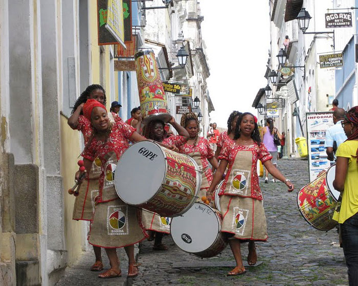 Music is made everywhere in Salvador, Brazil.