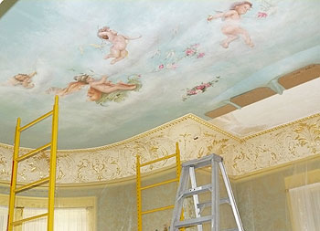 Ceiling restoration work at the Moody Mansion