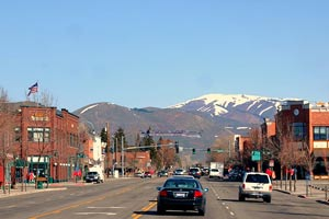 Main drag of Hailey, Idaho, pop. 6000.