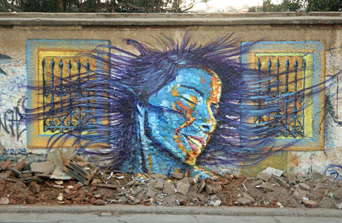 One of the many murals in Valparaiso, Chile. Photo by Brendan Nogue. Click on photo to return to Brendan Nogue's story about Valparaiso.
