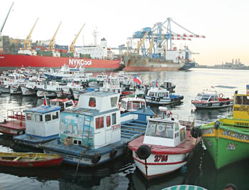 Some of the small fishing and tourist boats that share dock space with massive cargo ships, imposing naval boats and luxury cruise-liners in the Valparaíso harbour.