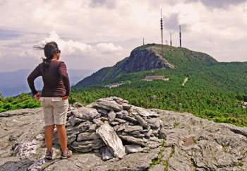 Esha looking at Mount Mansfield from the Frenchman's Pile at the beginning of the hike.