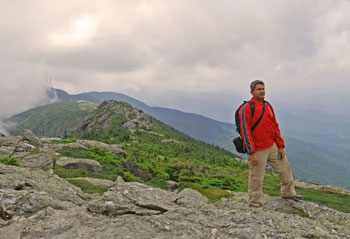 Pinaki on the Long Trail of Mount Mansfield. He finally takes a break from clicking photographs to enjoy the scenery. A candid shot by Esha Samajpati.