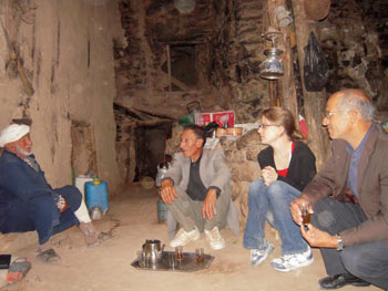 Having tea in the shrine to Sidi Moussa